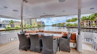 Covered aft deck dining area
