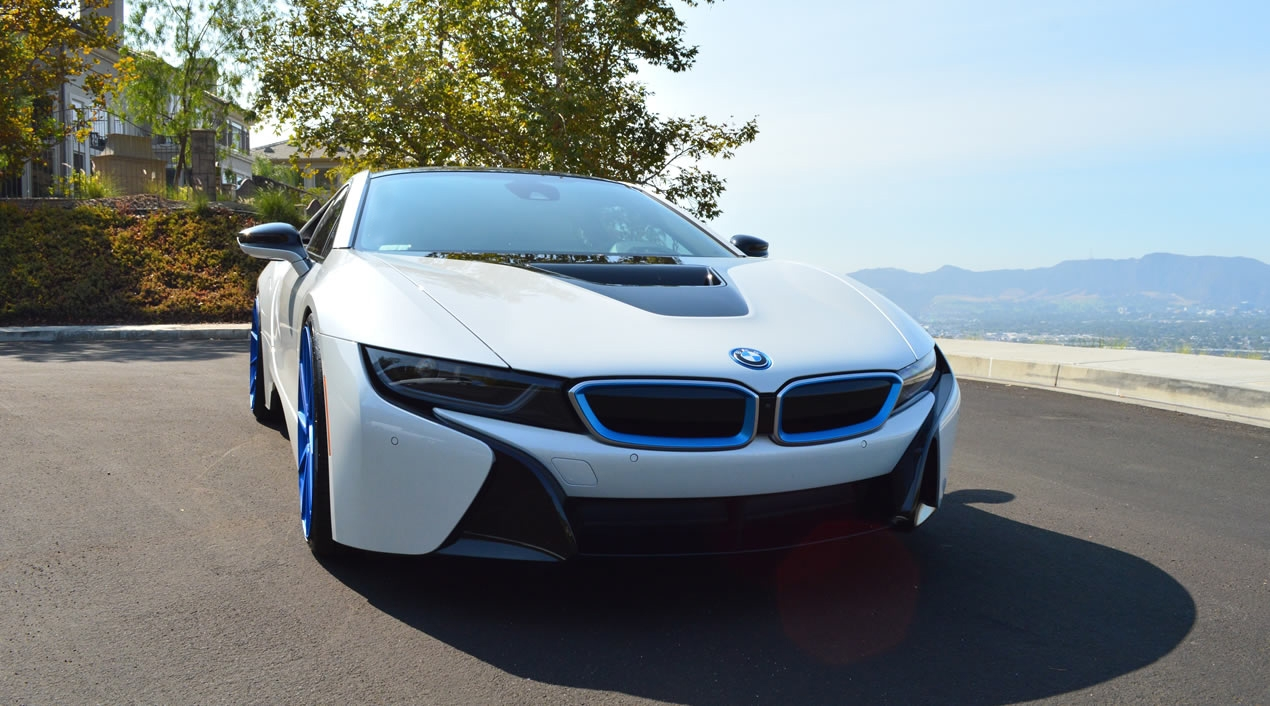 Bmw I8 White Blue Exotic Cars Uniq Los Angeles